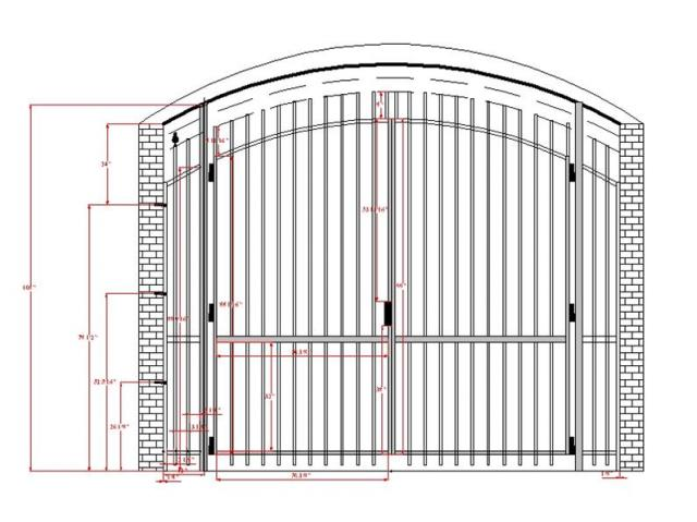 CAD drawing of wrought iron gate