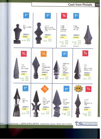 Wrought iron finials for handrails or fence