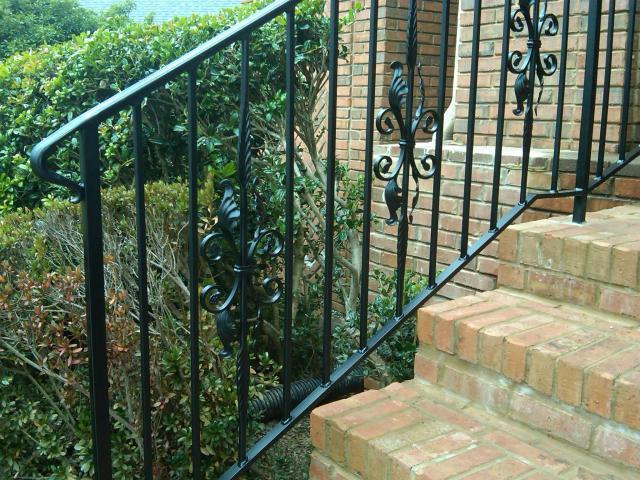 Wrought Iron handrail with floral balusters